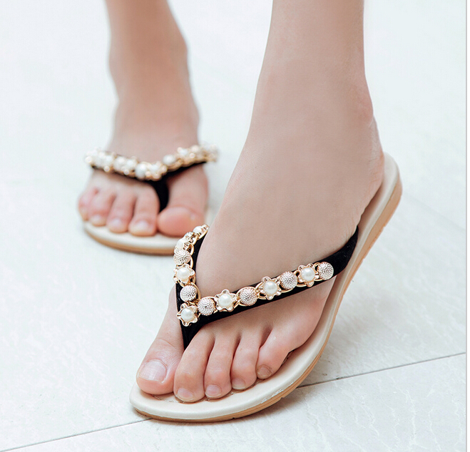 Free shipping !!!2016 new In the summer Flat sandals Female pearl set auger Flip-flops antiskid slippers<br><br>Aliexpress