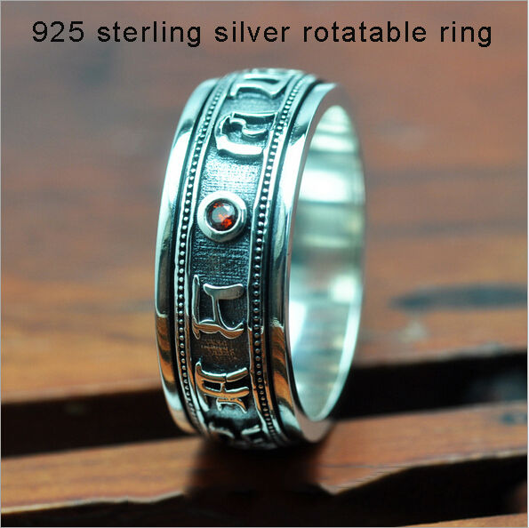 Wholesale 100% Real Pure 925 Sterling Silver Ring Retro Engraved Mantra silver 925 free shipping all sizes Men Jewelry hyr069