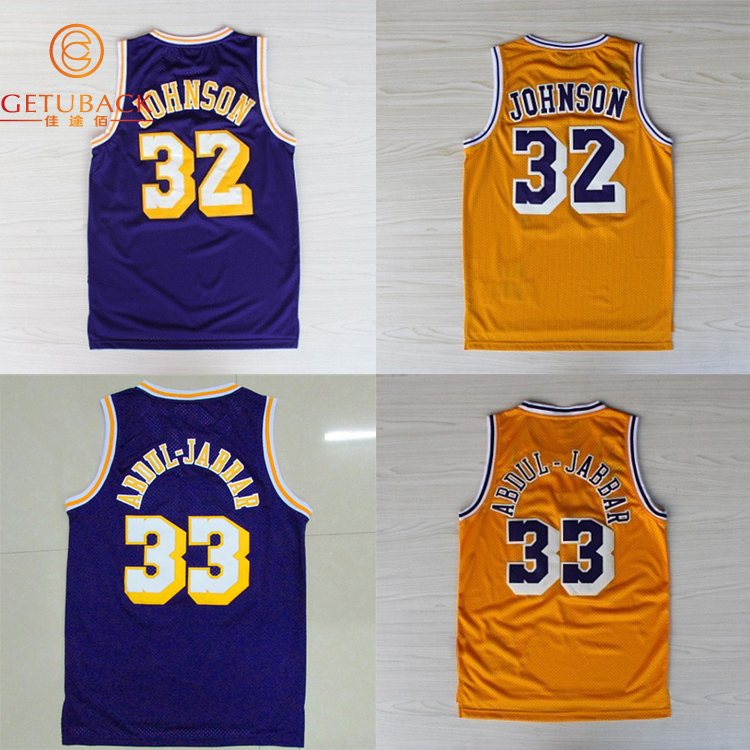 Los Angeles #32 Magic Earvin Johnson #33 Sky Hook Kareem Abdul Jabbar Basketball Jersey Embroidery Stitched Logos jerseys NA158(China (Mainland))