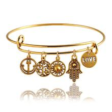2015 Fine Jewelry Dragonfly Vintage LOVE Heart Bangle Alloy Trendy Anchor Summer Style Leaf  Bangles Best Friends Pendant PD26
