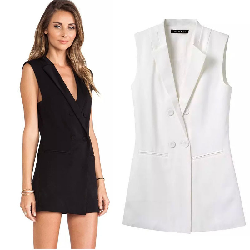 new arrival vest women white long v-neck sleeveless jacket woman fashion vest double breasted 2015 waistcoat solid gilet long(China (Mainland))