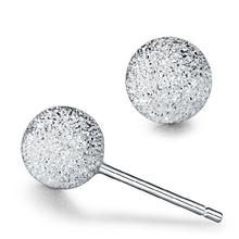 Wholesale Trendy Silver Plated Earrings Bijoux Fashion 4/5/6mm Small Matte Bead Stud Earrings For Women Fine Jewelry