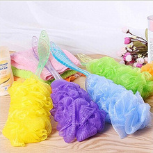 2016 New Fashion Plastic Long Handle Soft Bath Brush Mesh Sponge Body Back Scrubber Candy Colors Wholesale(China (Mainland))