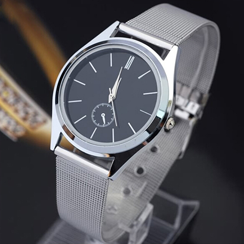 2015 Fashion Mens Mesh Stainless Steel Band Round Dial Quartz Casual Analog Wrist Watches <br><br>Aliexpress