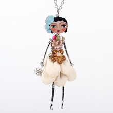 Newei Doll Necklace Long Chain Pendant Acrylic Alloy Dress 2015 New Trendy Jewelry For Women Girl