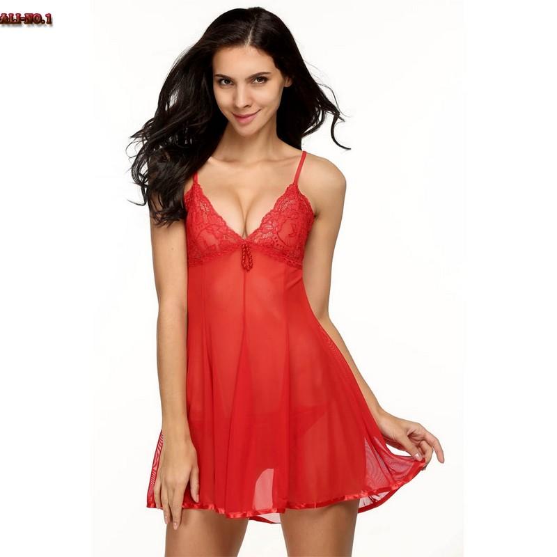 Women Sexy Nightwear Mesh Lace Beading V-Neck Back Tie Babydoll Mini Dress&G-String Sleepwear Erotic lingerie Set Night Gown(China (Mainland))