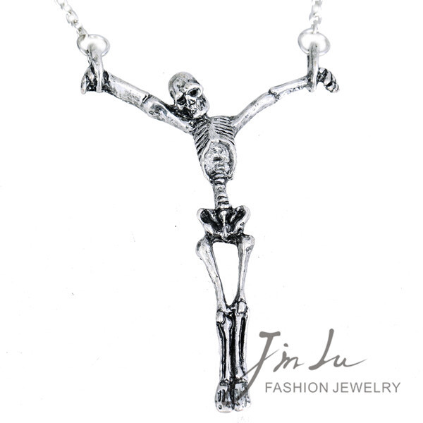 Antique Silver Zinc Alloy Gothic Necklace Human Skeleton Pendant Necklace Punk Retro Design Gothic Jewelry Free Shipping(China (Mainland))
