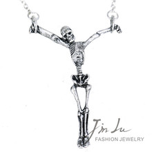 Antique Silver Zinc Alloy Gothic Necklace Human Skeleton Pendant Necklace Punk Retro Design Gothic Jewelry Free Shipping