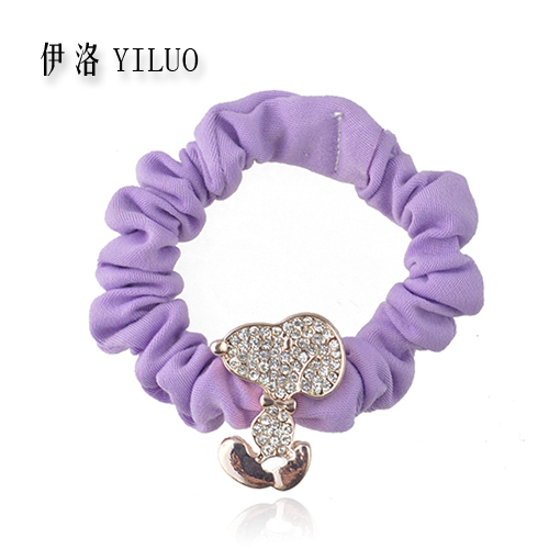 Good Quality Rhinestone Crystal Little Dog Flannel Hair Band Ponytail Holder FREE SHIPPING(China (Mainland))