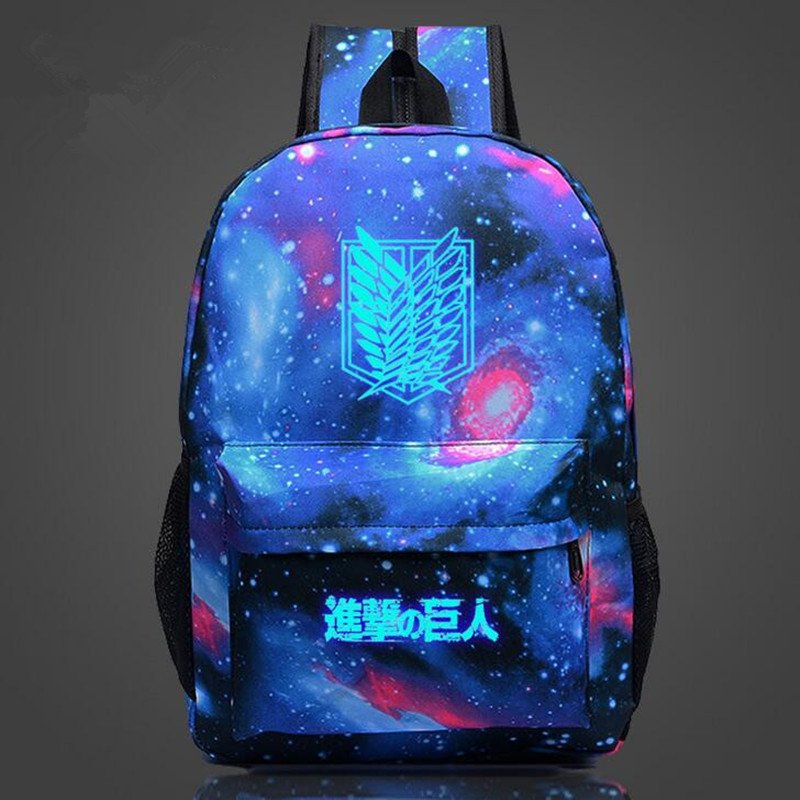 Attack on Titan Backpack Japan Anime Printing School Bag for Teenagers Cartoon Travel Bag Nylon Sports Mochila Galaxia CTT89(China (Mainland))