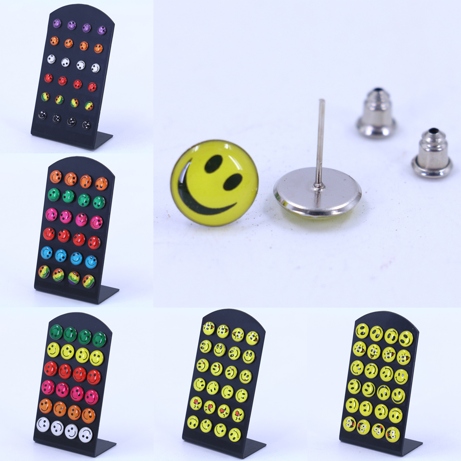 free shipping fashion jewelry cute smile faces pringting colorful small stud earrings cheap. Black Bedroom Furniture Sets. Home Design Ideas
