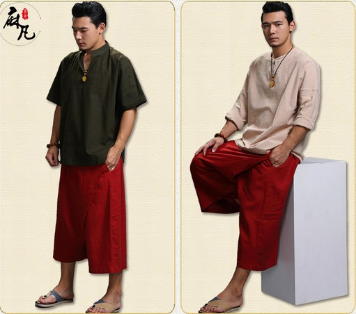 The old coarse China style cotton pure hemp leisure pants 7 folk style big pants loose and casual Mens women skirts(China (Mainland))