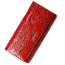 2017 floral pattern women wallets leather long purse luxury brand women wallet leather ladies coin purse(China (Mainland))