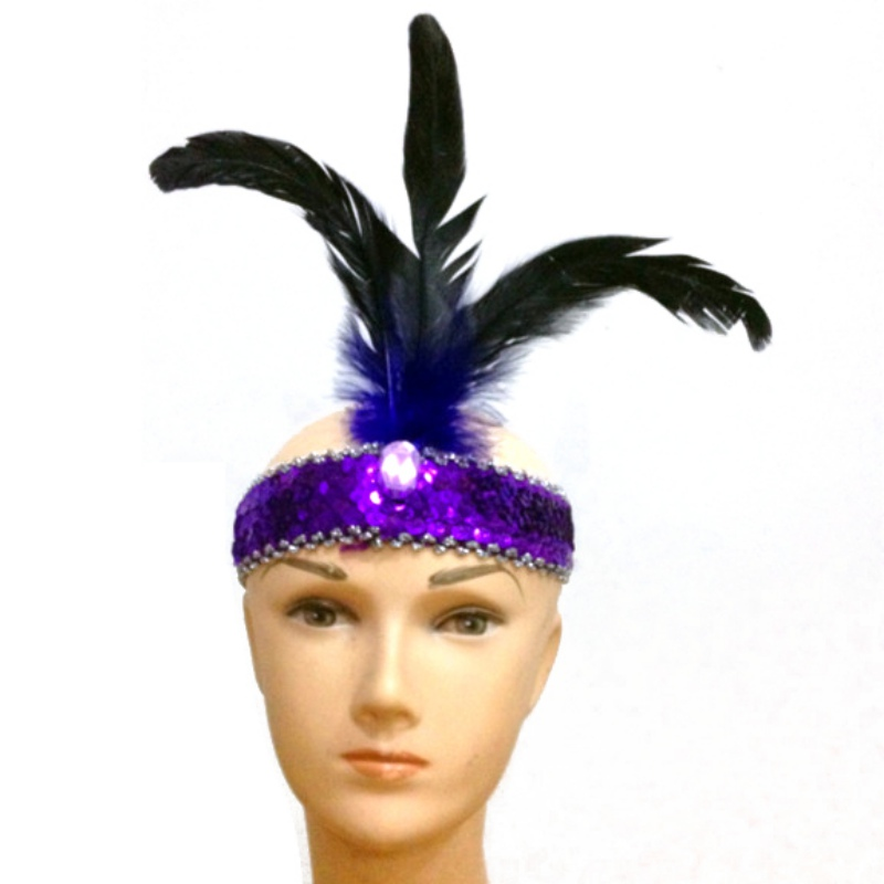 7993 New 3 Feather Headband Flapper Sequin Fancy Dress Costume Hair Band Headpiece(China (Mainland))