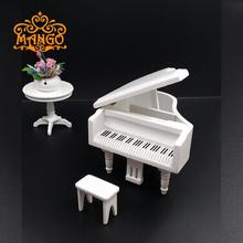Free Shipping 1/12 Dollhouse Miniature Music Studio Instrument Wood Upright Piano Stool White(China (Mainland))