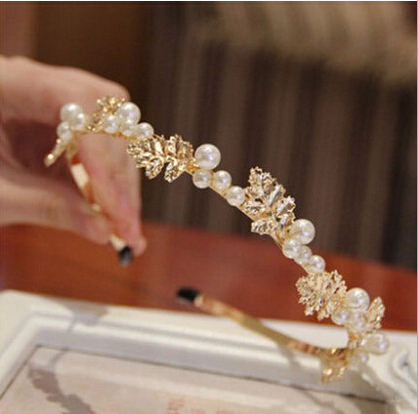 New Alloy Leaves Pearl Hairband Women Luxurious Metal Gold Hairwear Fashion Bridal Hair Accessories Jewelry(China (Mainland))