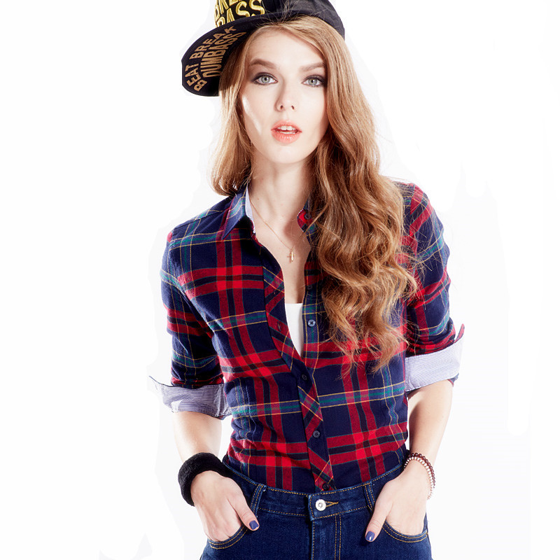 Casual Cotton Plaid Blouses Shirts Women Slim Outwear Long sleeve Flannel font b Tartan b font