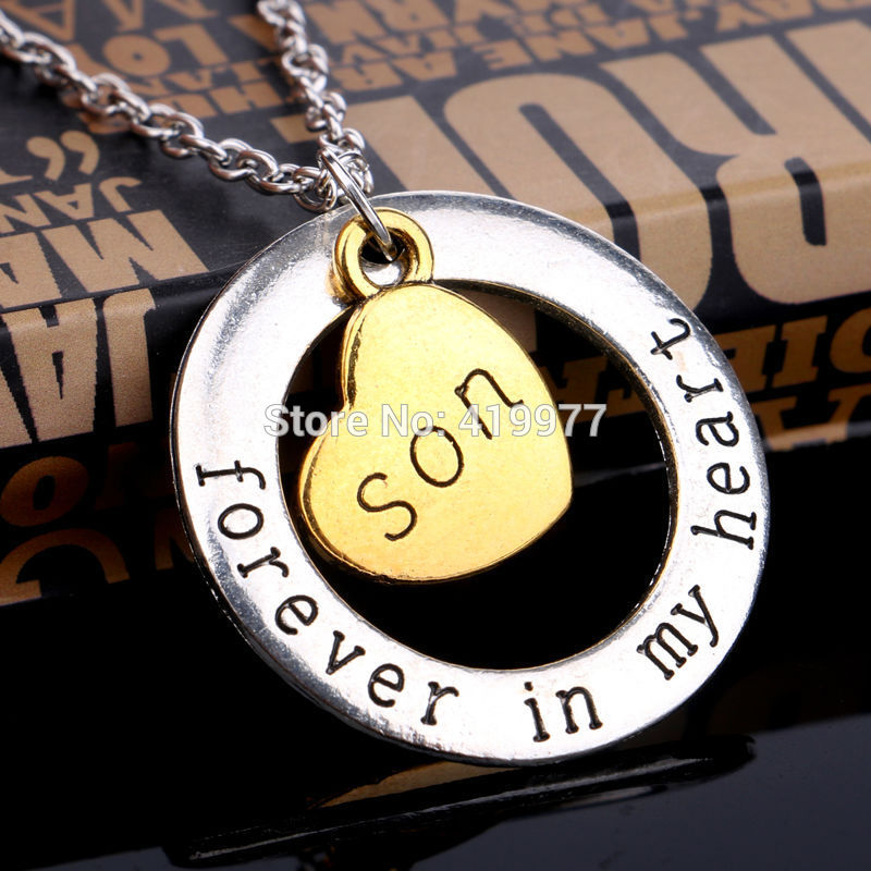 """Simple Handmade Christmas Gift Son Forever In My Heart""""Family Member Heart Pendant Necklace Best Jewelry For Son(China (Mainland))"""