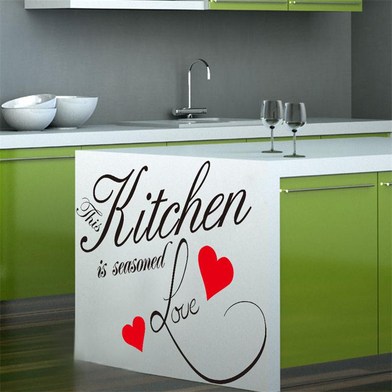 This Kitchen Is Seasoned Love warm quote letter wall sticker Kitchen wall cabinet decoration vinyl mural art creative home decor(China (Mainland))