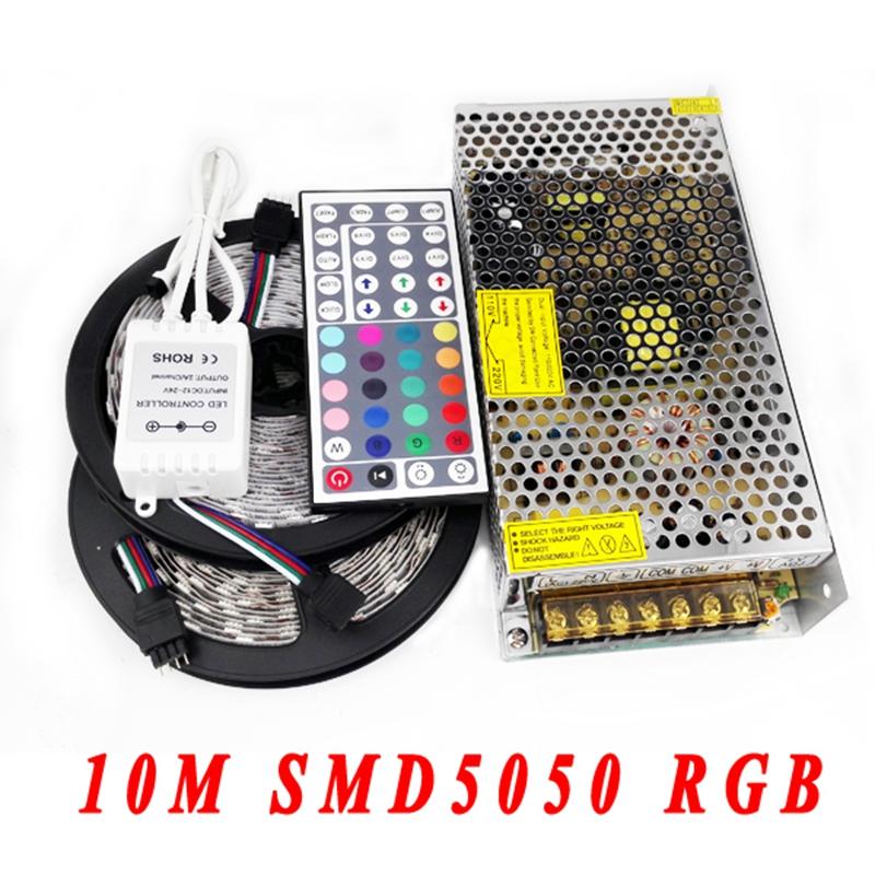 LED Lighting Strip Set SMD5050 2*5M RGB LED Tape Strip 12V 150W Power Supply 44Keys IR Remote Controller<br><br>Aliexpress