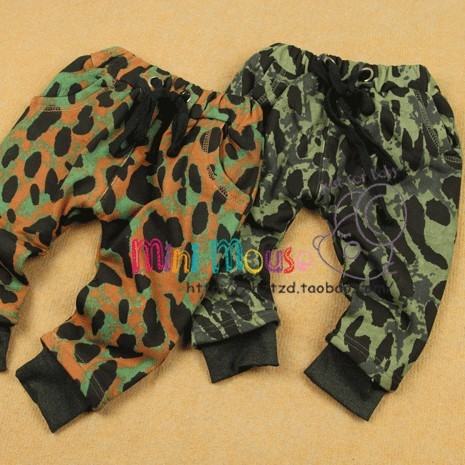 Winter male female child thickening baby big PP villus openable-crotch trousers pants legs Camouflage onta