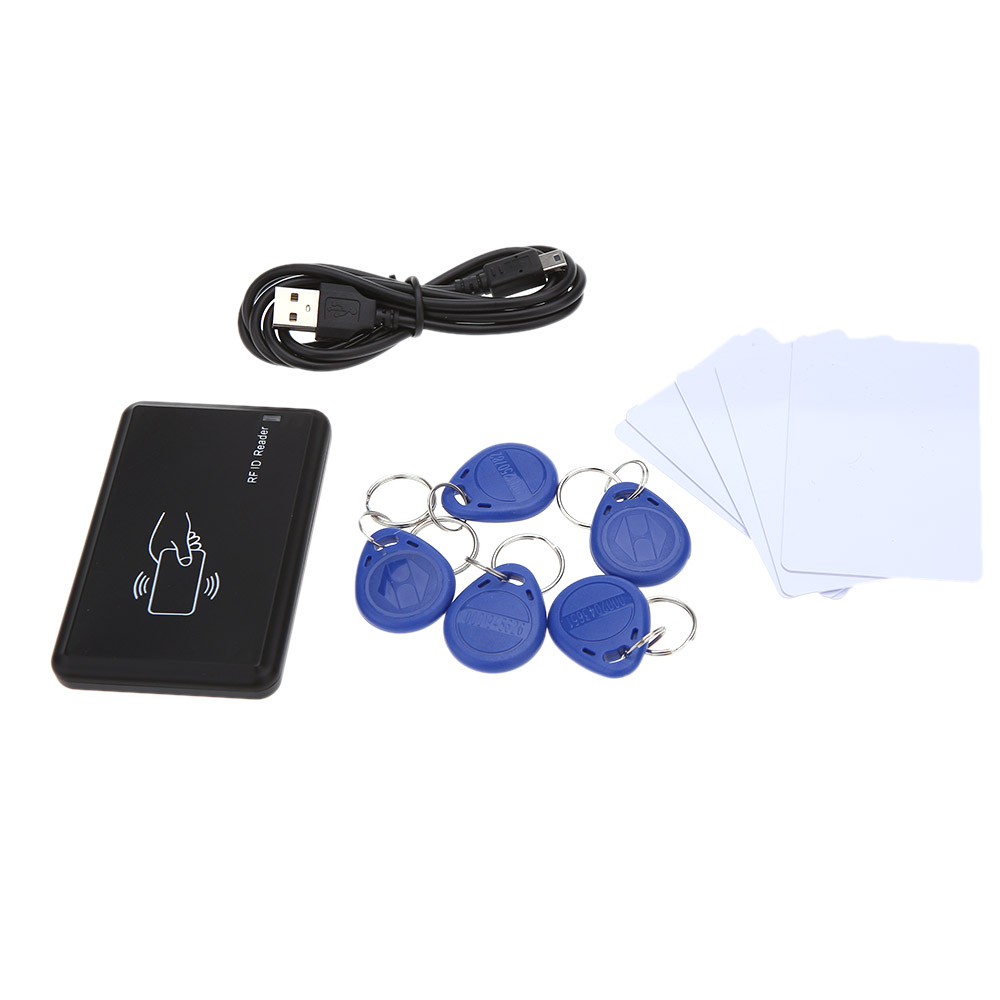 125KHz RFID Smart ID Card Reader Contactless Proximity Sensor Card Reader With 5pcs USB ID Crads+ 5pcs Key Fobs Tags EM4100(China (Mainland))
