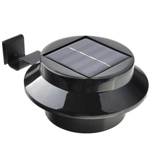 Black 3 LED Solar Power Waterproof Outdoor Lights High Quality Waterproof IP44 Fence Yard Wall Pathway Garden Lamp New Arrival(China (Mainland))