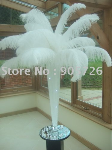 """100pcs/lot 14-16"""" (35-40cm) White Ostrich Feather Wing Plume for Wedding Centerpiece Decoration FREE SHIPPING"""