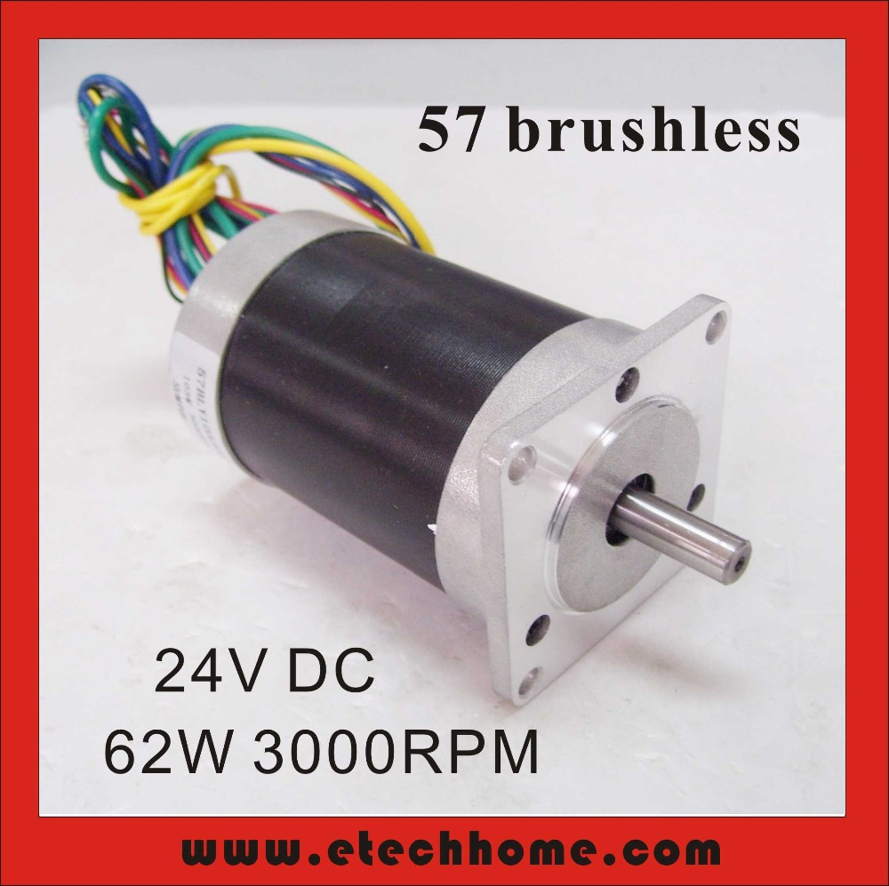 Free Shipping! 24V 57 Brushless DC Motor 62W 3000rpm 28oz-in Square Flange(China (Mainland))