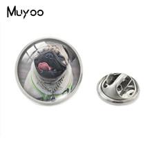 Cute Pug Anjing Pudel dan Bunga Seni Cetak Kaca Cabochon Kerah Pin Anjing Yang Indah Perhiasan Pin Kerajinan Tangan Kerah Pin(China)