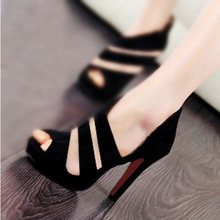 2016 Summer High Heel Red Bottom Sandals Women Club Fish Mouth Zipper Waterproof Single Sole Shoes Black Fashion high heels