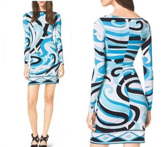 High quality New 2016 women ladies spring summer fashion dress prints Italian designer casual Silk Jersey Dress D3445(China (Mainland))