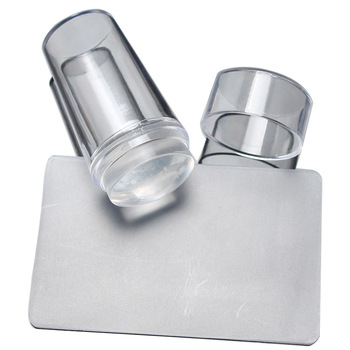 2016 New Design Pure Clear Jelly Silicone Nail Art Stamper Scraper with Cap Transparent 2.9cm Nail Stamp Stamping Tools