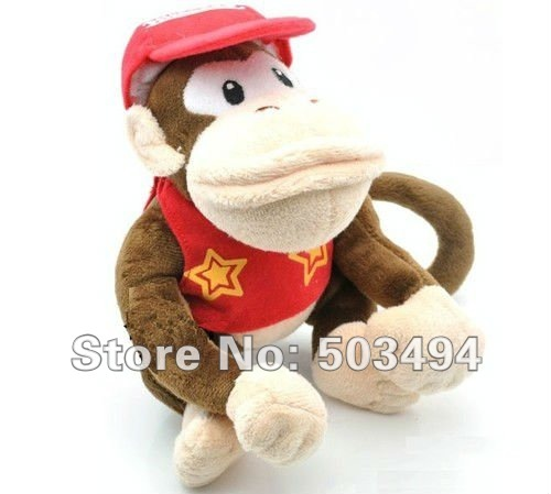 Free shipping 50PCS 6.5inches Diddy Kong super mario brothers figure plush doll soft toy DIDDY KONG Plush toy Diddy plush doll