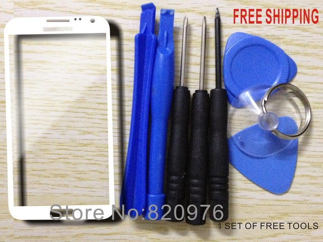 Free shipping White Original Outer LCD Touch Screen Lens Top Replacement Glass For Samsung Galaxy Note II 2 N7100 7100+ tools