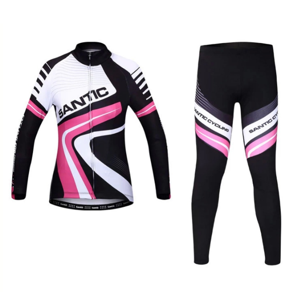 Santic High-End Women Cycling Set Thermal Fleece Long Sleeve Cycling Jersey and Padded Pants Windproof MTB Road Bike Clothing<br><br>Aliexpress