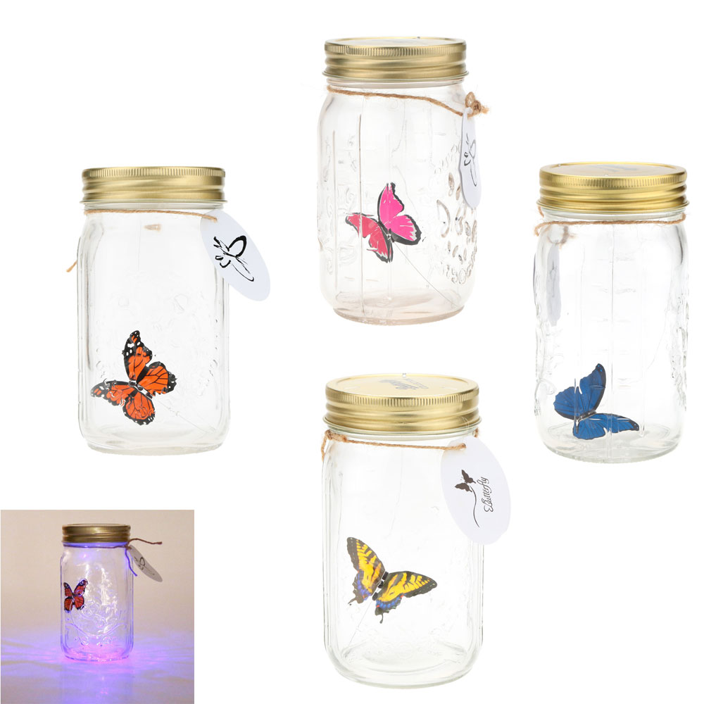 New Arrival Butterfly Jar/Tank Butterfly Glass Bottle LED Lamp light Romantic Home Decoration Valentine Children Gift Presents(China (Mainland))