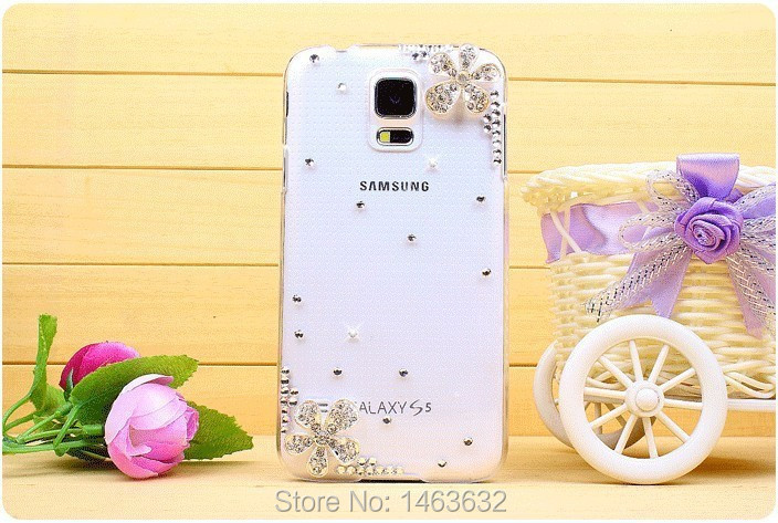 S5 Mini Bling Case Latest Crystal Rhinestone Silver Cherry Flower Phone Cover Samsung Galaxy mini G800 Hard Back Skin - Arvin Hoa's Store store