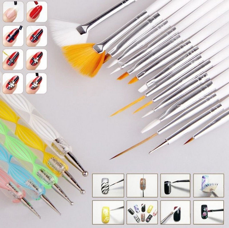20pcs Nail Art DIY Design Set Dotting Painting Drawing Polish Brush Pen Cosmetic Nail Polish Art Brush Tools(China (Mainland))