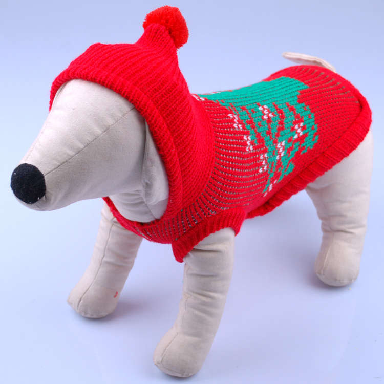 Free Shipping Fashion Autumn & Winter Pet Clothing Christmas Tree Pattern Red Free Crochet Hooded Dog Sweater(China (Mainland))
