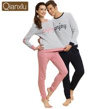 Autumn Cotton Couple Pajama Suit Women Men Lover Home Pyjamas Homme Lounge Long Sleeve Sleepwear 2pcs Set Tee Shirt Tops & Pants(China (Mainland))