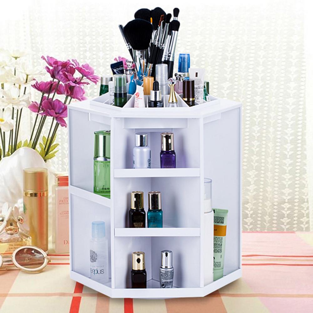 360 Degree Rotating Storage Box Case Plastic Cosmetic Jewelry Organizer Folding Makeup Storage Stand Holder(China (Mainland))