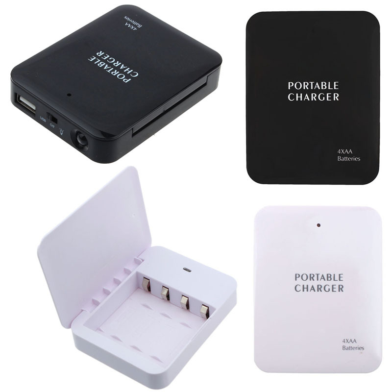 Powerbank Portable 4X AA Battery Emergency USB Power Bank Charger for Mobile Phone Colorful Various Hgih Quanlity wholesale(China (Mainland))