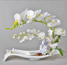 Creative Tabletop Vase (Vase + Flowers /set ) for Home Decor Ceramic Material(China (Mainland))
