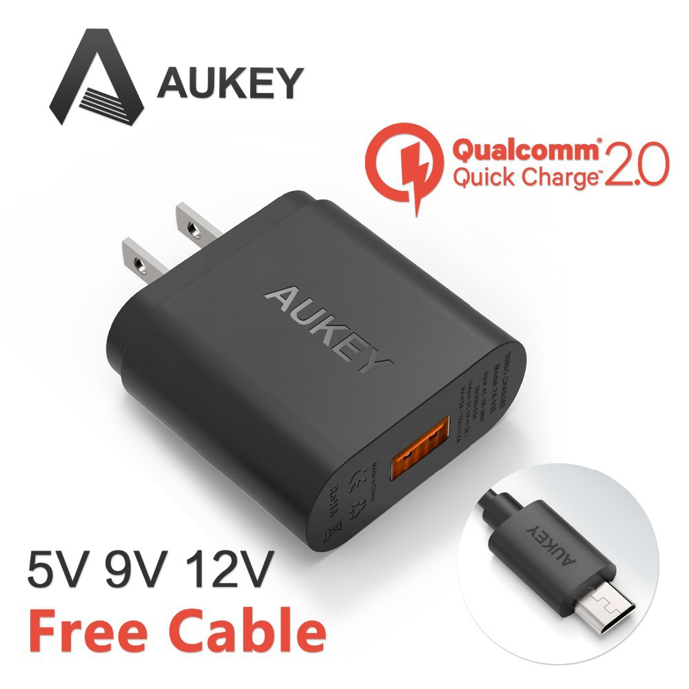 2015 Aukey Quick Charge 2.0 18W USB Turbo Wall Charger Fast Charger (Black) For IPhone 5 6 6S IPad SAMSUNG S5 S6(China (Mainland))