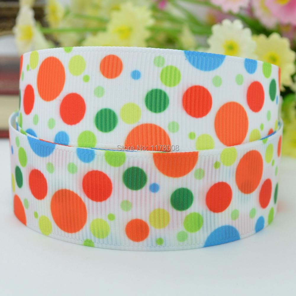"Free shipping 7/8"" 22mm Dots orange red blue green Printed grosgrain ribbon hairbow DIY handmade wholesale OEM 50YD(China (Mainland))"