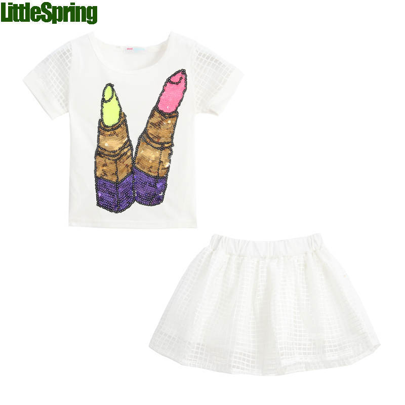 2016 fashion children summer clothing sets glitter skirts kids girl 2 peices girls clothes - baby_mart store