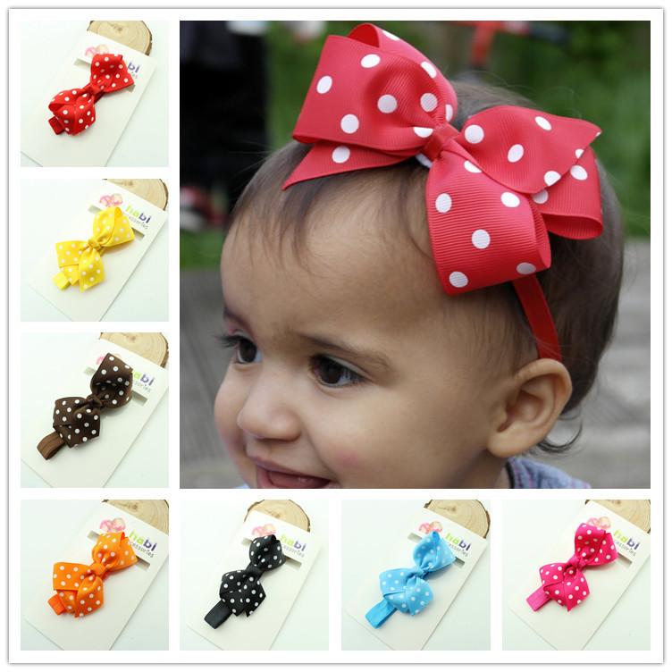 Baby Girl Headbands Polka Dot Ribbon Bow Headband flower Elastic Infant Kids band product Children Hair Accessories(China (Mainland))