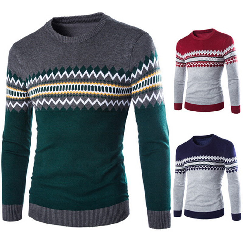 2016 New Autumn Fashion Brand Casual Sweater O-Neck Striped Slim Fit Knitting Mens Sweaters And Pullovers Men Pullover(China (Mainland))