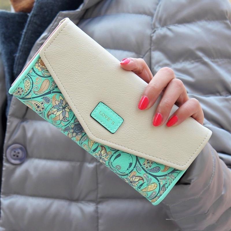Гаджет  Hot Sale New Fashion  Women Wallet Hit Color  Flowers Printing  Zip PU Leather Wallet Long Ladies Clutch Cash Card Purse LL1026 None Камера и Сумки